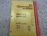 1975 Johnson Outboards Service Manual 4 HP 4W75 4R75 OEM Boat
