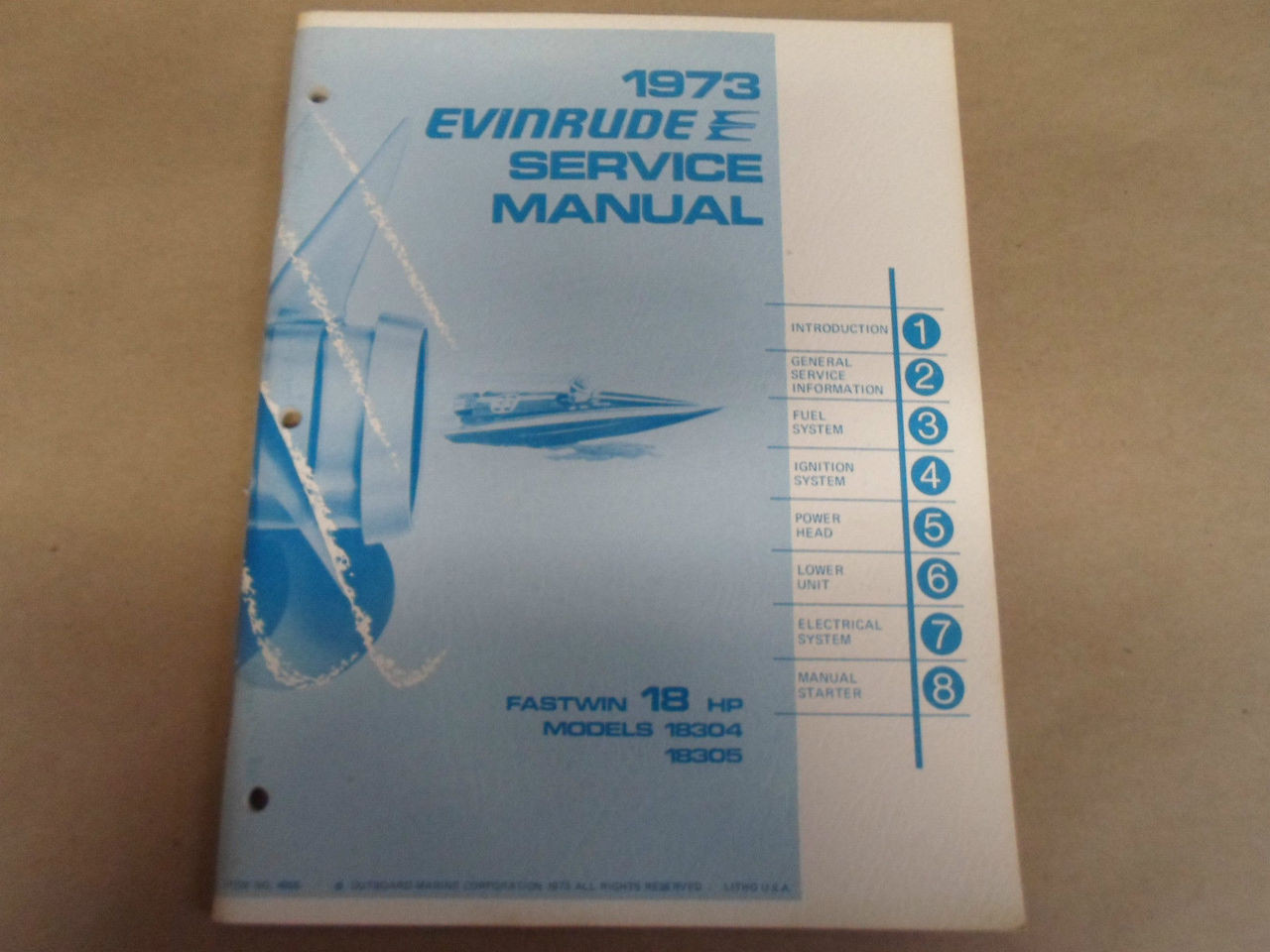 Array - 1973 evinrude service shop repair manual 18 hp 18304 18305      rh   carboagez com