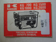 1978 Kawasaki KG 700 KG 1000 KG 1500 KG 2600 Portable Generator Owner's Manual x