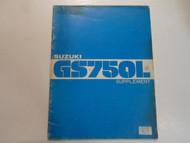 1980 Suzuki GS750L Supplement Manual WORN DAMAGED STAINED FACTORY OEM BOOK 80