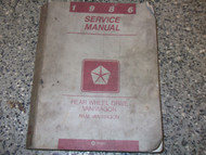 1986 Dodge Ram Van Wagon Service Repair Shop Workshop Manual RWD OEM Factory