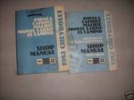 1982 Chevrolet Chevy Impala Malibu EL Camino Monte Carlo Service Shop Manual Set