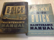 1951 BUICK MODELS Maintenance Service Shop Manual SET W SUPPLEMENT OEM