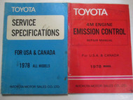 1978 Toyota 4M Engine Emission Control Service Repair Shop Manual SET OEM Books