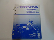 1979 1984 Honda XL100S XR100 Shop Service Repair Manual LOOSE LEAF FACTORY OEM