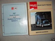 1987 GMC Heavy Duty Truck Service Shop Manual Set W Campaign Bulletins Book OEM