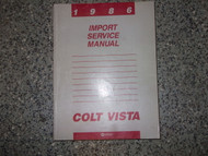 1986 Dodge Colt Vista Service Repair Shop Workshop Manual OEM Factory 1986 Book