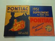 1949 1951 Pontiac Maintenance Manual Series 2000 2200 2V SET STAINED WORN w/supp