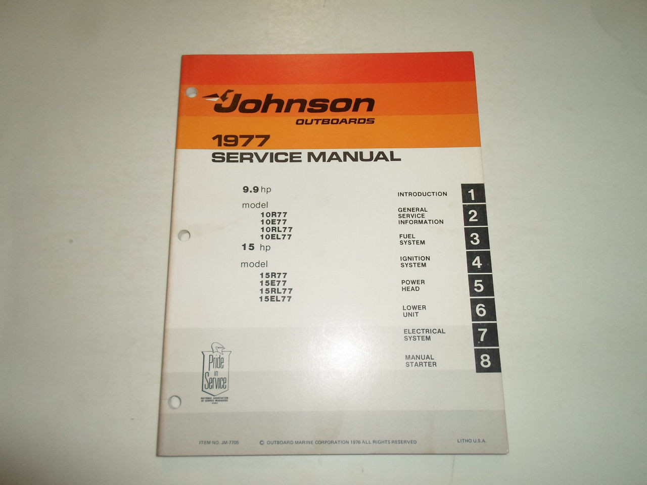 ... 1977 Johnson Outboards Service Manual 9.9 15 HP 10R77 15R77 FACTORY  STAINED OEM. Image 1