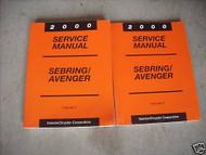 2000 DODGE AVENGER & CHRYSLER SEBRING Service Shop Repair Manual Set 2 VOLUME