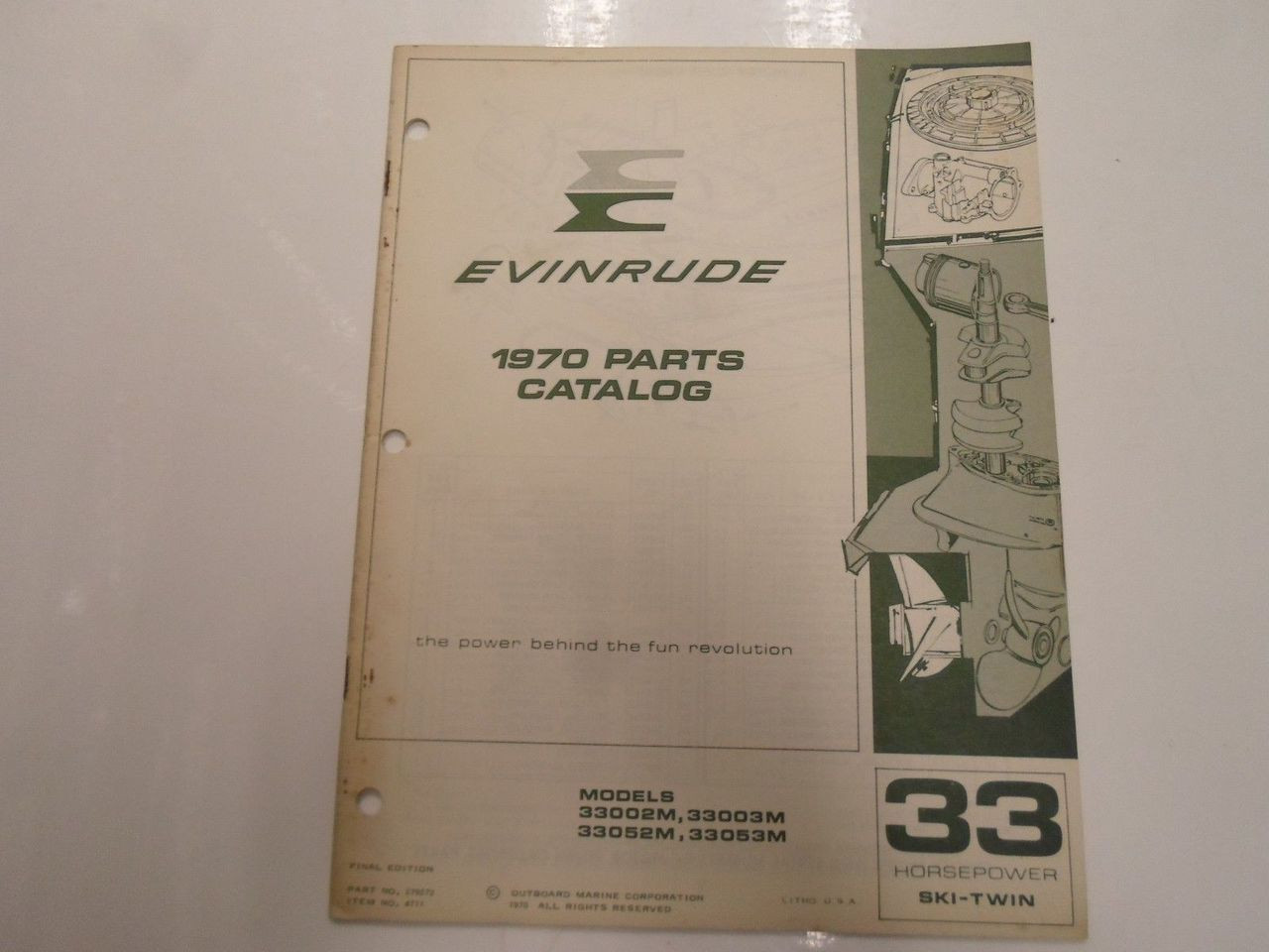 1970 Evinrude 33 HP SKI TWIN Models 33002M 3M 33052M 53M Parts