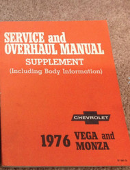 1976 GM Chevrolet Chevy Vega & Monza Service & Overhaul Manual Supplement OEM