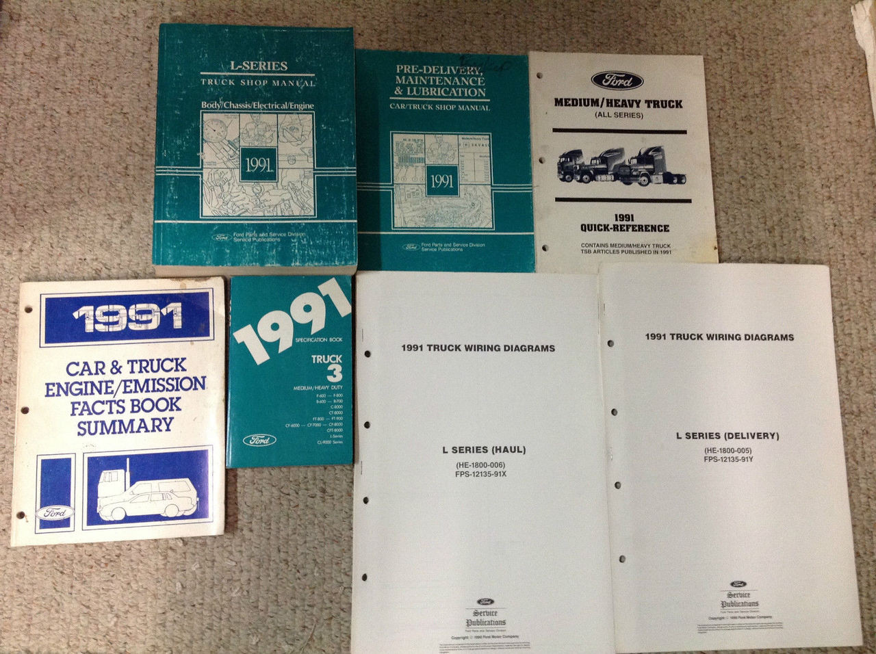 1991 Ford L Series L-series Truck Service Shop Repair Manual Set W Ewd   Oem