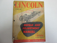 1954 Ford Lincoln Repair and Adjustment Manual DAMAGED STAINED FACTORY OEM 54