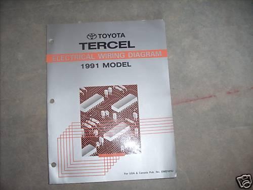 1991 Toyota Tercel Electrical Wiring Diagram Troubleshooting Manual Ewd Etm