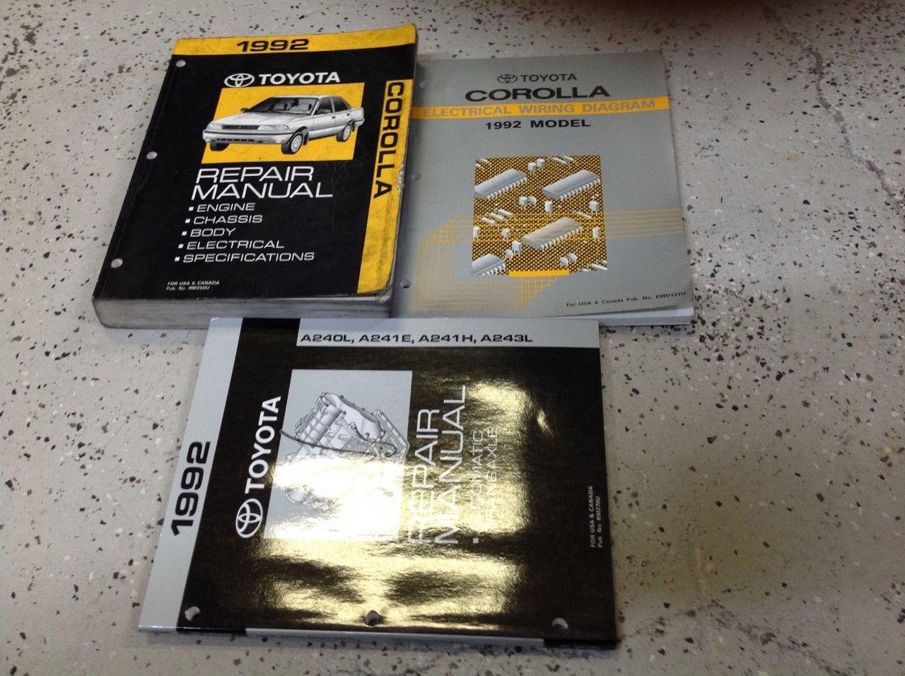 1992 Toyota Corolla Service Repair Shop Manual Set W Ewd   Transaxle Oem
