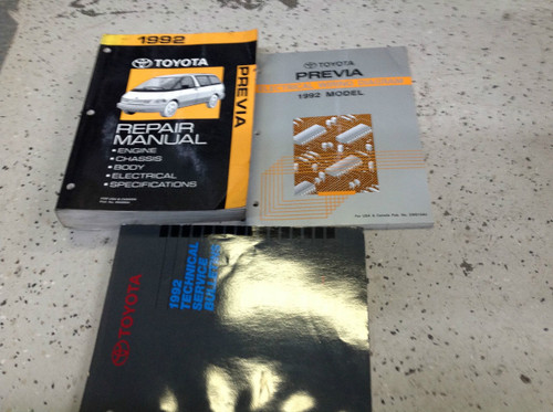 1992 Toyota Previa Van Service Shop Repair Manual Set Oem