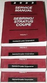 2003 CHRYSLER SEBRING COUPE Service Shop Repair Workshop Manual Set FACTORY OEM
