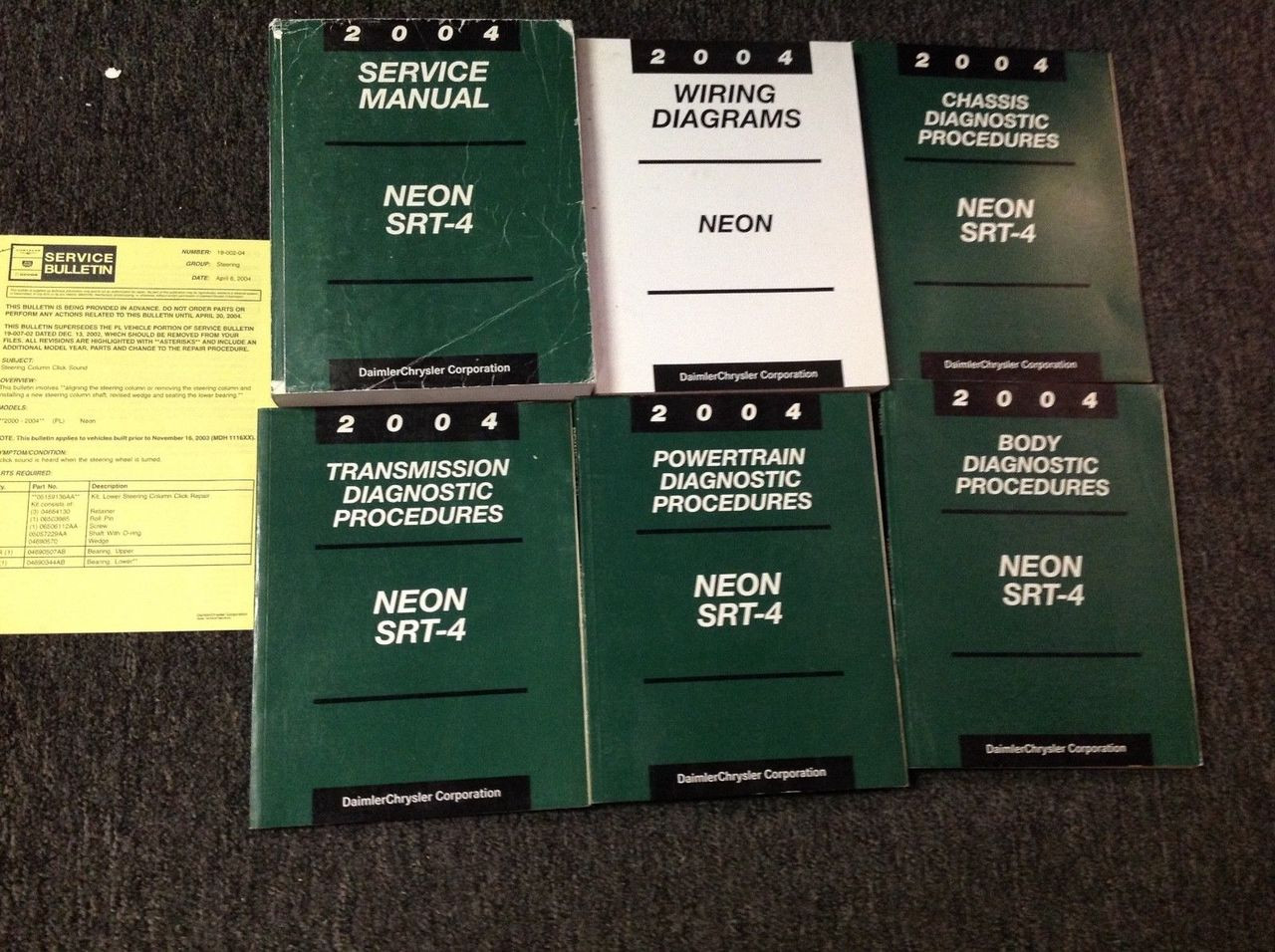 2004 Dodge Neon Srt 4 Service Repair Shop Manual Set W