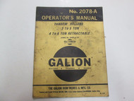 Galion Tandem Rollers 3 to 5 4-6 TON RETRACTABLE Operators Manual STAINS 2078-A