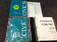 2002 HONDA CIVIC SI Service Shop Repair Manual Set OEM W 2001 2002 Parts Catalog