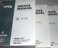 1998 Cadillac SEVILLE Service Shop Repair Manual Set 98 FINAL EDI 3 VOLUME HUGE