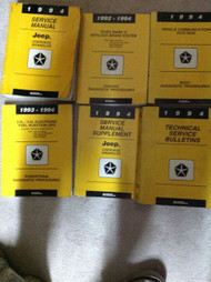 1994 JEEP CHEROKEE & WRANGLER Service Shop Repair Manual Set W DIAGNOSTICS + SUP