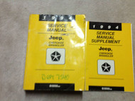 1994 JEEP CHEROKEE & WRANGLER Service Shop Repair Manual Set DEALERSHIP W SUPP