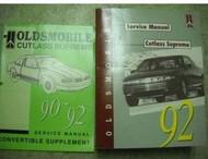 1992 Oldsmobile OLDS CUTLASS SUPREME Service Shop Repair Manual FACTORY 92 SET