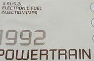 1992 92 RAM VAN WAGON 250 3.9L 3.9 L Powertrain Service Manual DIAGNOSTIC OEM
