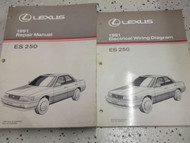 1991 Lexus ES250 ES 250 Service Shop Repair Manual SET DEALERSHIP 91 2 MANUALS