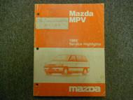 1989 MAZDA MVP Service Highlights Service Repair Shop Manual OEM BOOK 89