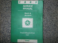 1989 DODGE SPIRIT PLYMOUTH ACCLAIM Service Repair Shop Manual FACTORY OEM BOOK