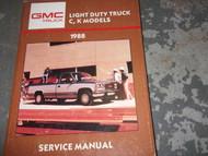 1988 GMC C/K MODELS SIERRA JIMMY 1500 TRUCK LIGHT Service Shop Repair Manual 88