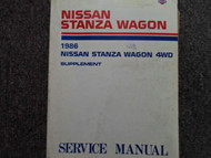 1986 Nissan Stanza Wagon 4WD Service Repair Shop Manual Supplement Factory OEM