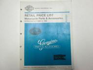 1986 Harley Davidson Retail Price List Motorcycle Parts Accessories Manual OEM
