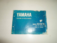 1979 Yamaha Parts Catalog Manual CATALOGUE DE PIECES DETACHEES FRENCH DAMAGED 79