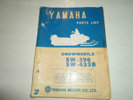 1972 Yamaha Snowmobile Model SW396 SW433B Parts List Manual FACTORY OEM BOOK 72