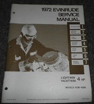 1972 EVINRUDE LIGHTWIN YACHTWIN 4HP 4 HP Service Shop Repair Manual Factory X