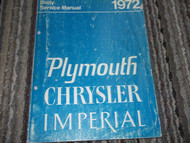 1972 Chrysler Imperial New Yorker Newport Town Country Body Service Shop Manual
