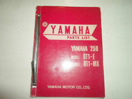 1970s Yamaha 250 DT1-E DT1 E DT1-MX DT1 MX Parts List Manual FACTORY OEM