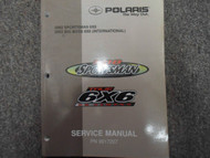 2002 POLARIS Sportsman 500 6x6 ATV QUAD Service Shop Repair Manual FACTORY NEW
