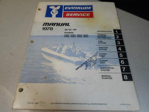 Array - 1978 evinrude service shop repair manual 25 35 hp oem boat      rh   carboagez com