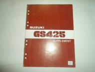 1980 Suzuki GS425 Supplement Service Shop Manual WORN OEM 80 FACTORY DEAL