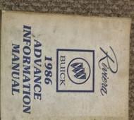 1986 Buick RIVIERA Advance Information Service Shop Repair Manual 86 BUICK GM