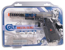 Colt Delta Elite Airsoft BB gun with sticky target