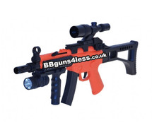 CYMA HY017B Tactical Airsoft Rifle with Flash Light in Orange/Blue