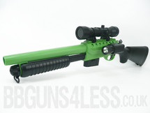 Double Eagle M47A2 Tactical Shotgun with solid stock in green