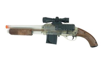 Mossberg 500 ump Action pistol grip BB Shotgun with dummy scope in Clear/wood