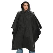 man in Waterproof Poncho US Style in Black